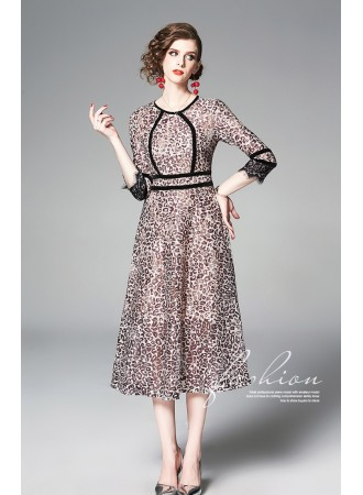 BDS07118526X Lace leopard dress REAL PHOTO