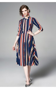 BDS07111426X Stripes A line dress REAL PHOTO
