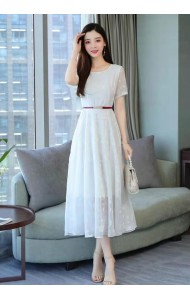 KDS07111288Y Embroidery lace belted maxi dress REAL PHOTO