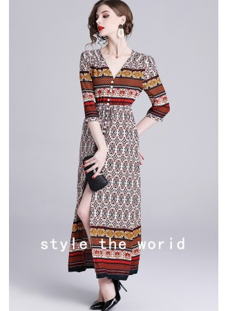 KDS07120388F V neck ethnic dress REAL PHOTO