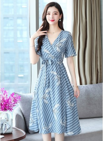 KDS07129088Y V neck bird print dress REAL PHOTO