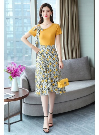 KDS07125088Y Off shoulder floral skirt set REAL PHOTO