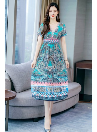 KDS07127207Y V neck ethnic dress REAL PHOTO