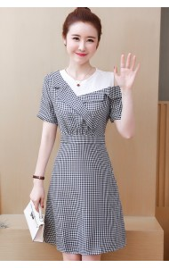 KDS07138609B Plus size off shoulder checker dress REAL PHOTO