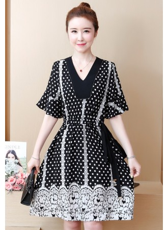 KDS07135569B Plus size polka drawstring dress REAL PHOTO
