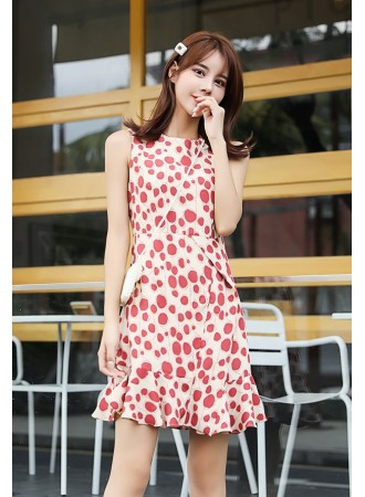 KDS07141401Y Polka dot chiffon mermaid dress REAL PHOTO