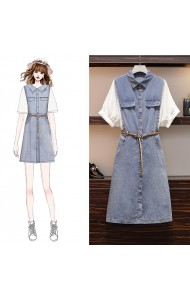 KDS07152258K Plus size puff sleeves denim dress REAL PHOTO