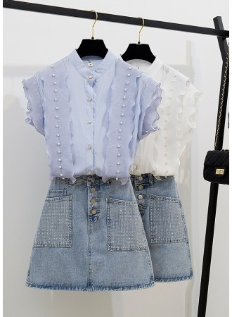 KST0719306Q Ruffle pearl decorated top with sequin jeans skirt set REAL PHOTO