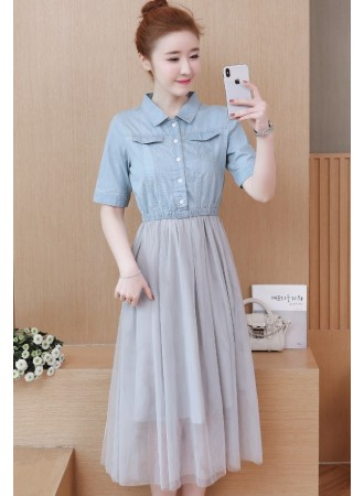KDS07167181N Denim tulle dress REAL PHOTO