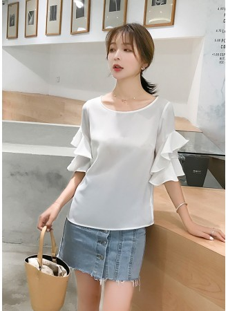 KTP07163276O Double layer ruffle sleeves chiffon blouse REAL PHOTO