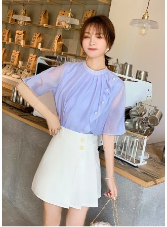 KTP07162276O Round neck chiffon blouse with pearl REAL PHOTO