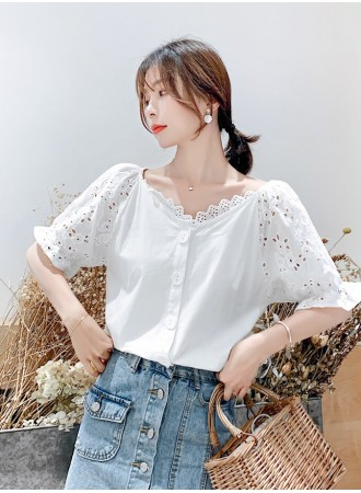 KTP07169588Q Eyelet puff sleeves crochet blouse REAL PHOTO