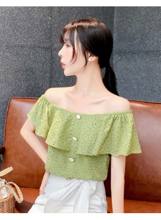 KTP07179198Q Off shoulder crochet eyelet blouse REAL PHOTO
