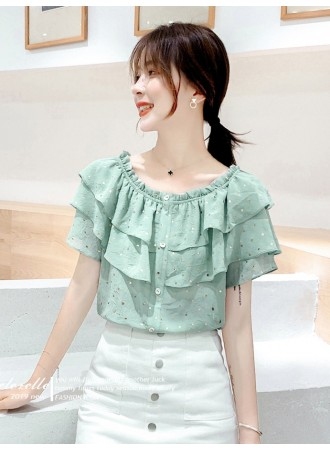 KTP07178988Q Off shoulder double layer blouse REAL PHOTO