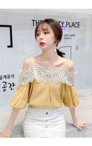 KTP07170998Q Lace shoulder puff sleeves blouse REAL PHOTO