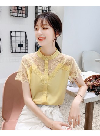 KTP07172298Q Lace shoulder high neck blouse REAL PHOTO
