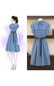KDS07182509D Soft jeans belted dress REAL PHOTO