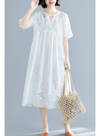 KDS0718168M Crochet eyelet maxi dress REAL PHOTO