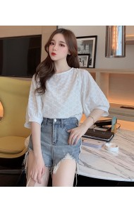 KTP07207665D Eyelet crochet puff sleeves blouse  REAL PHOTO
