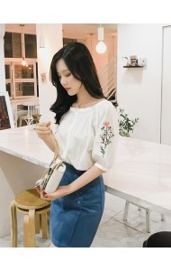 KTP07207329S Button embroidery sleeves blouse REAL PHOTO