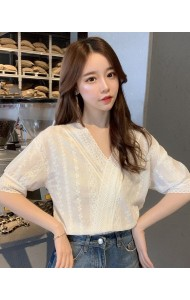 KTP07216665D V neck embroidery blouse REAL PHOTO