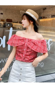 KTP07227501Y Checker off shoulder blouse REAL PHOTO