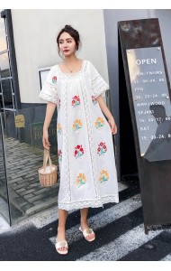 KDS07236099J Embroidery linen dress REAL PHOTO