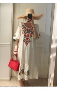 KDS07239499J Trumpet sleeves embroidery linen dress REAL PHOTO