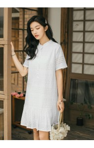 KDS0724518D Button crochet eyelet dress REAL PHOTO