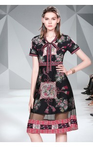 BDS07283002H Printed mesh layer dress with bow REAL PHOTO