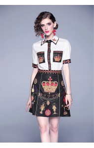 BDS07288419H Crown print skirt set with locket decorated REAL PHOTO