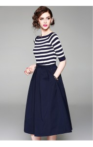 BST07314459H Stripes knit top pleated skirt set REAL PHOTO