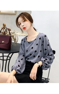 KTP08019809X Heart shape puff sleeves blouse REAL PHOTO