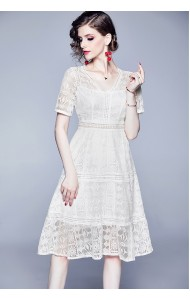 BDS08019319H V neck hollow lace dress REAL PHOTO