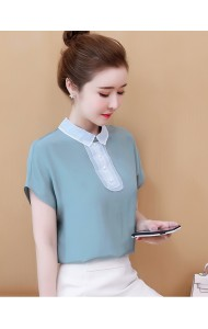 KTP08055999M Peter pan collar chiffon blouse REAL PHOTO