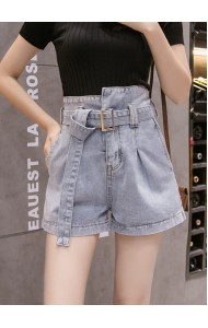 KPT08061903H Belted denim shorts REAL PHOTO