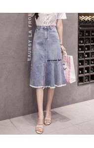 KSK0806720F A line embroidery denim skirt REAL PHOTO
