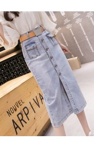 KSK08066302Y Split belted denim skirt REAL PHOTO