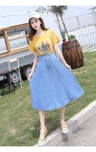 KSK08066108X Flared denim skirt REAL PHOTO