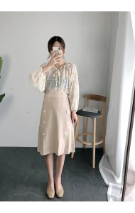 KSK08066079G Aline knit skirt REAL PHOTO