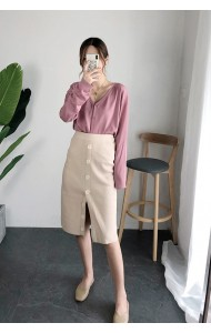 KSK0806100G Split button knit skirt REAL PHOTO