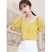 KTP08061999M V neck puff sleeves blouse REAL PHOTO