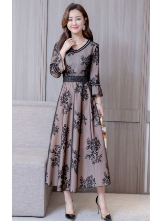 KDS08068508N Trumpet sleeves embroidery lace dinner dress REAL PHOTO