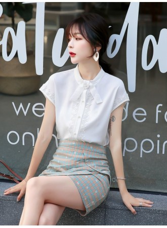 KTP08061353X Chiffon lace shirt with bow REAL PHOTO
