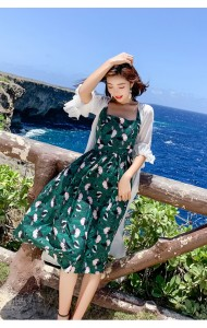 KDS08072901K Green florrie dress REAL PHOTO
