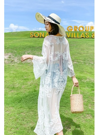 KDS08085111K Embroidery lace cardigan REAL PHOTO