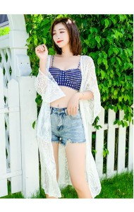 KDS08081111K Check embroidery lace cardigan REAL PHOTO