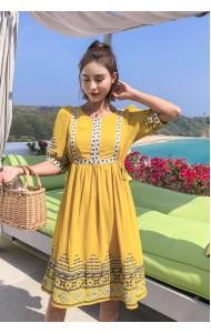 KDS08081077J Ethnic embroidery chiffon dress REAL PHOTO