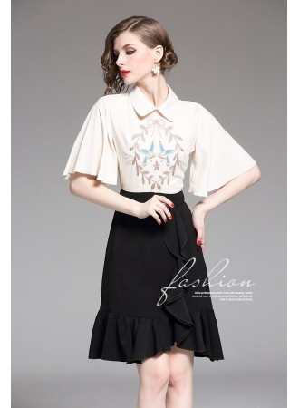 BDS08133737Y Trumpet embroidery ruffle dress REAL PHOTO