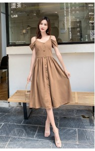 KDS08133435T Off shoulder high waist dress REAL PHOTO
